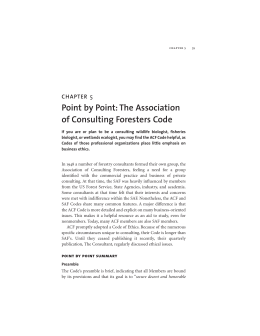 Point by Point: The Association of Consulting Foresters Code 5 CHAPTER