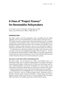 "A View of ""Project Finance"" For Renewables Policymakers"