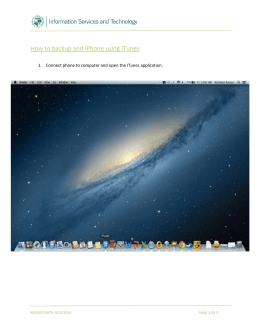 How to backup and IPhone using ITunes  REVISED DATE: 9/21/2015