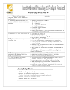 Priority Objectives 2008-09 Themes/Focus Areas Activities