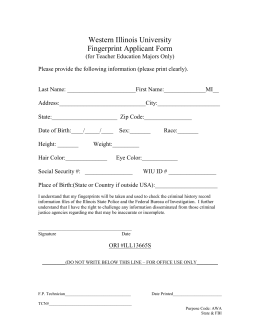 Western Illinois University Fingerprint Applicant Form