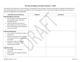 Planning and Budget Committee Evaluation – DRAFT