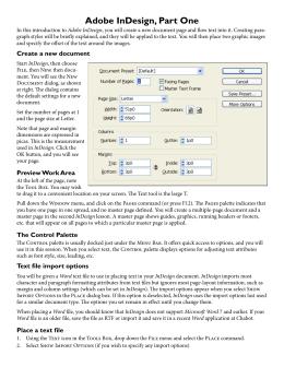 Adobe InDesign, Part One