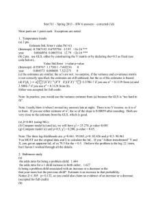 Stat 511 – Spring 2013 – HW 6 answers –... Most parts are 1 point each.  Exceptions are noted.
