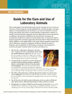 Guide for the Care and Use of Laboratory Animals KEY FINDINGS