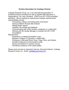 Position Description for Coatings Chemist