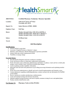 JOB TITLE: Certified Pharmacy Technician / Resource Specialist