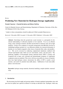 materials Predicting New Materials for Hydrogen Storage Application