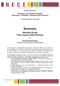 Summary Working Group Twin Lessons about Europe European Co-operation Projects