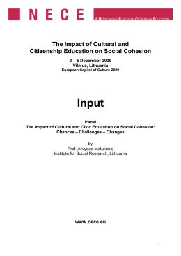Input The Impact of Cultural and Citizenship Education on Social Cohesion
