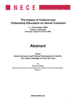 Abstract The Impact of Cultural and Citizenship Education on Social Cohesion