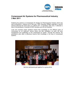 Compressed Air Systems for Pharmaceutical Industry 3 Mar 2011