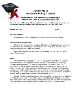 Comments to Academic Policy Council  Chabot College