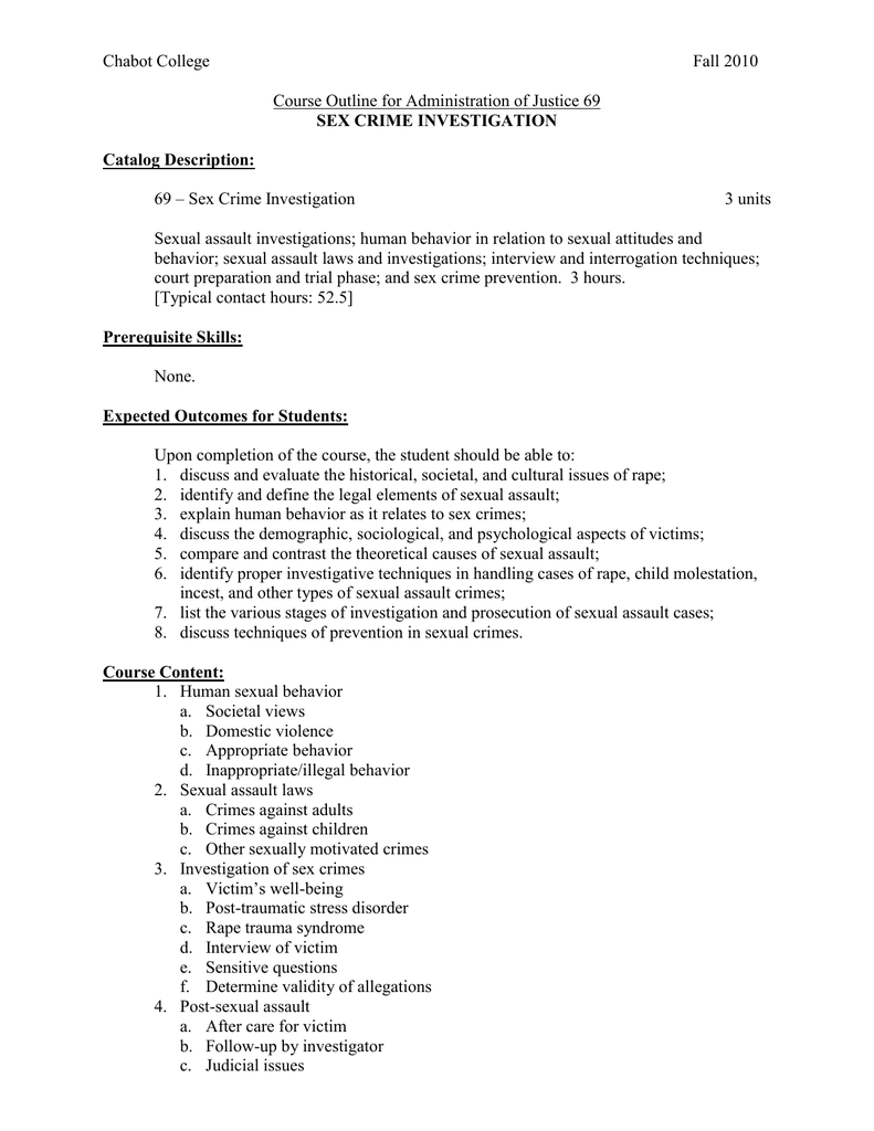 Human sexuality course outline