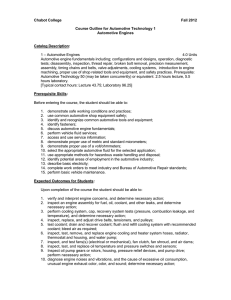 Chabot College Fall 2012 Course Outline for Automotive Technology 1