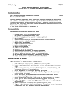 Chabot College Fall 2010  Course Outline for Automotive Technology 63A