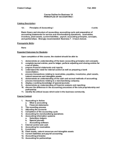 Chabot College  Fall, 2002 Course Outline for Business 1A