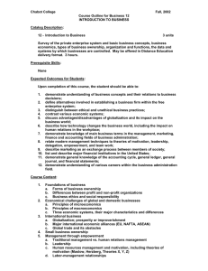 Chabot College  Fall, 2002 Course Outline for Business 12