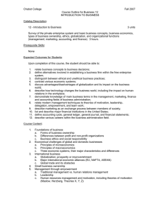 Chabot College Fall 2007 Course Outline for Business 12 INTRODUCTION TO BUSINESS