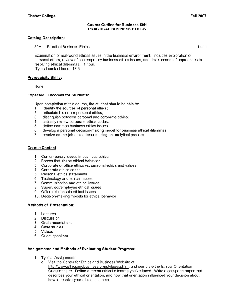 Chabot College Fall 2007 Course Outline for Business 50H