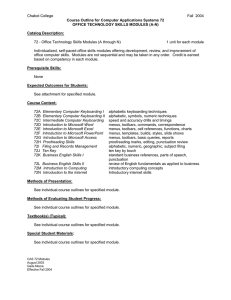 Chabot College Fall  2004  Course Outline for Computer Applications Systems 72