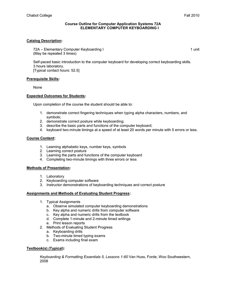 Chabot College Fall 2010 Course Outline for Computer