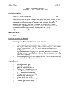 Chabot College  Fall 2003 Course Outline for Economics 2