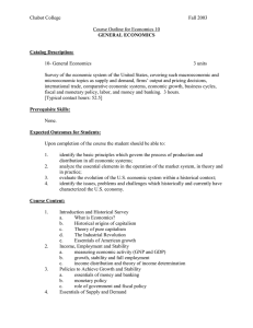 Chabot College  Fall 2003 Course Outline for Economics 10