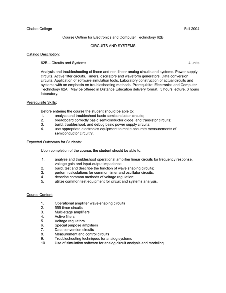 Chabot College Fall 2004 Course Outline for Electronics and
