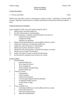 Chabot College October 1999 Outline for Health 4