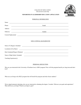 MINORITIES IN LEADERSHIP EDUCATION APPLICATION COLLEGE OF EDUCATION PERSONAL INFORMATION