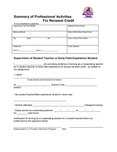 Summary of Professional Activities For Renewal Credit  To be completed by applicant.