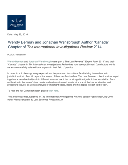 "Wendy Berman and Jonathan Wansbrough Author ""Canada"" Chapter of 2014"