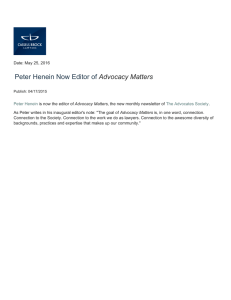 Peter Henein Now Editor of Advocacy Matters