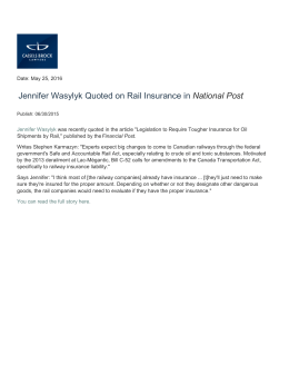 Jennifer Wasylyk Quoted on Rail Insurance in National Post