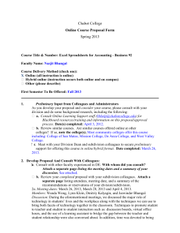 Chabot College Spring 2013 Online Course Proposal Form