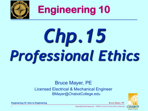 Chp.15 Professional Ethics Engineering 10 Bruce Mayer, PE