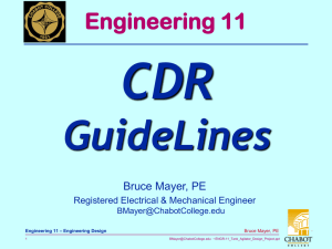 CDR GuideLines Engineering 11 Bruce Mayer, PE