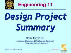 Design Project Summary Engineering 11 Bruce Mayer, PE