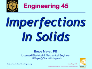 Imperfections In Solids Engineering 45 Bruce Mayer, PE