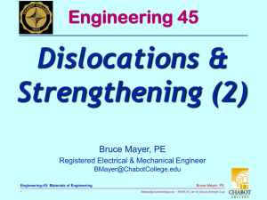 Dislocations & Strengthening (2) Engineering 45 Bruce Mayer, PE