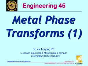 Metal Phase Transforms (1) Engineering 45 Bruce Mayer, PE