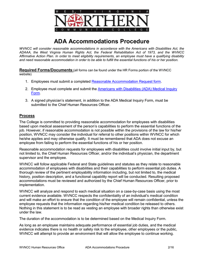 ADA Accommodations Procedure on periodontal charting printable form, ambulance form, printable medical clearance form,