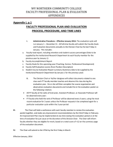 WV NORTHERN COMMUNITY COLLEGE FACULTY PROFESSIONAL PLAN & EVALUATION APPENDICES Appendix I, p.1