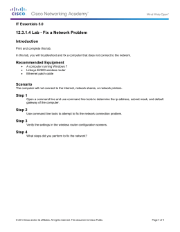 12.3.1.4 Lab - Fix a Network Problem Introduction IT Essentials 5.0