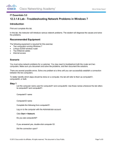 12.3.1.6 Lab - Troubleshooting Network Problems in Windows 7 Introduction
