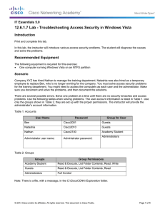 12.6.1.7 Lab - Troubleshooting Access Security in Windows Vista Introduction
