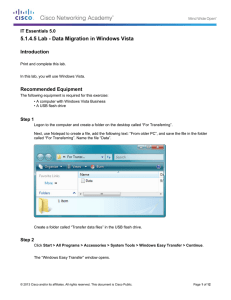 5.1.4.5 Lab - Data Migration in Windows Vista Introduction Recommended Equipment