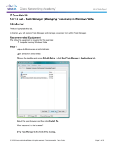 5.3.1.6 Lab - Task Manager (Managing Processes) in Windows Vista Introduction