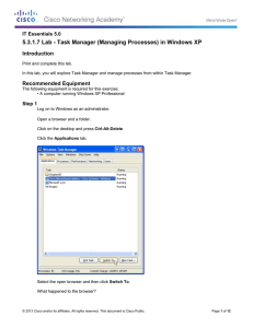 5.3.1.7 Lab - Task Manager (Managing Processes) in Windows XP Introduction